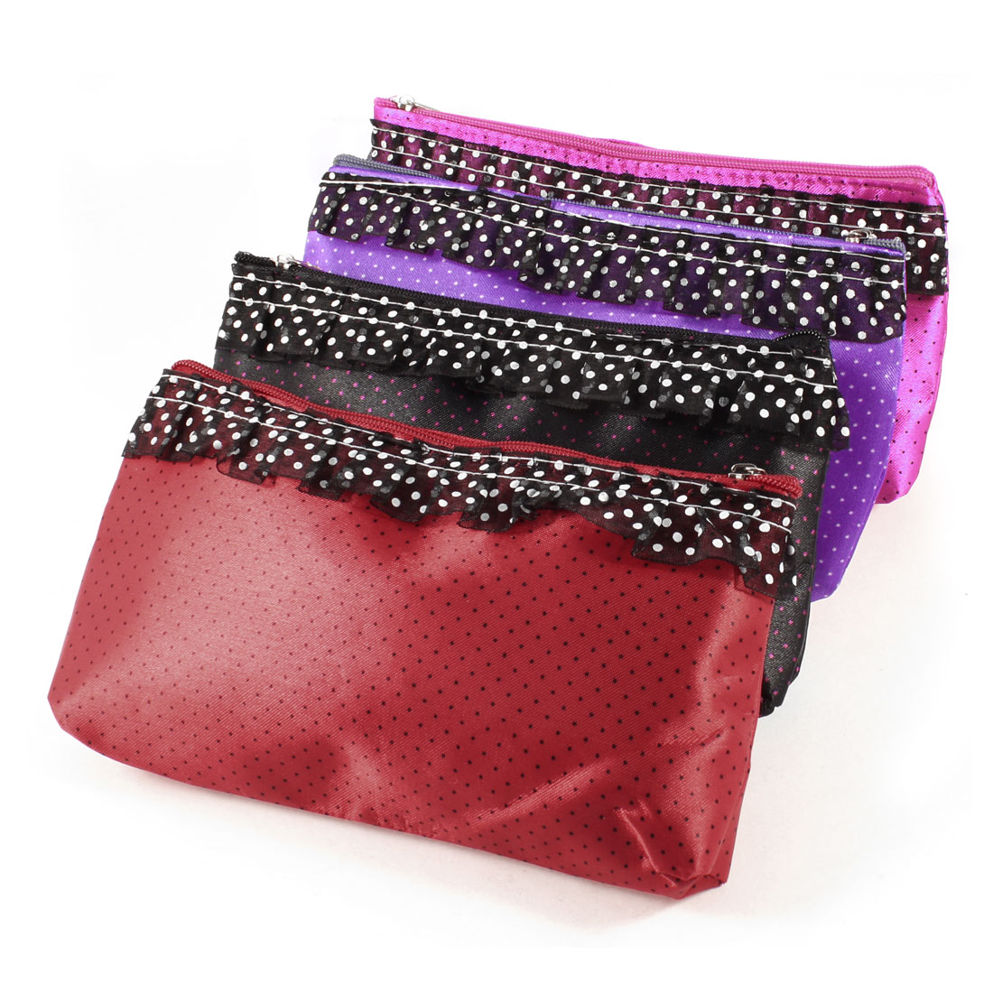4 Pcs Dots Printed Mirror Lipstick Makeup Cosmetic Bag Assorted Color for Lady