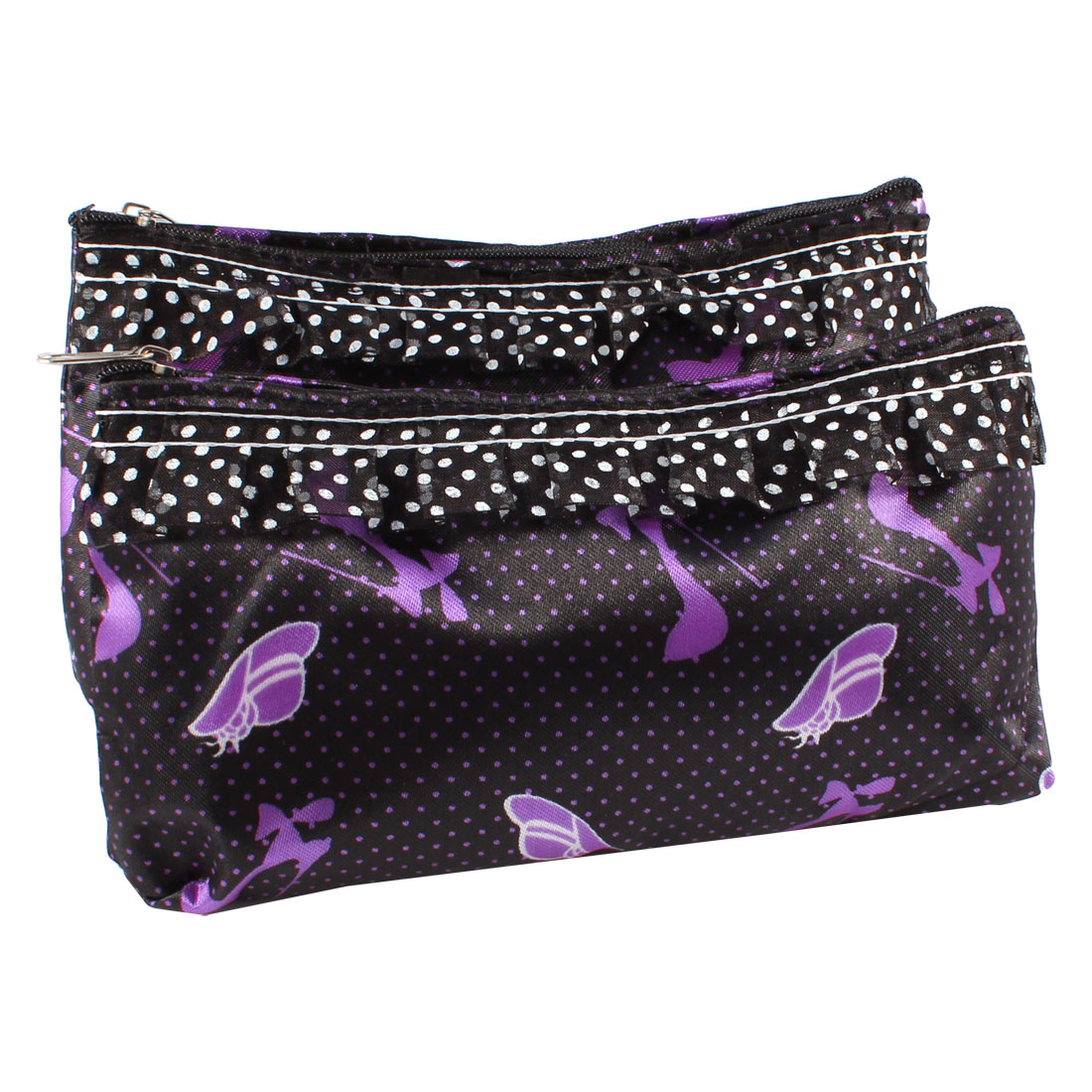 Lady High Hell Shoes Print Zip Up Cosmetic Holder Pouch Bag Purple Black 2 Pcs