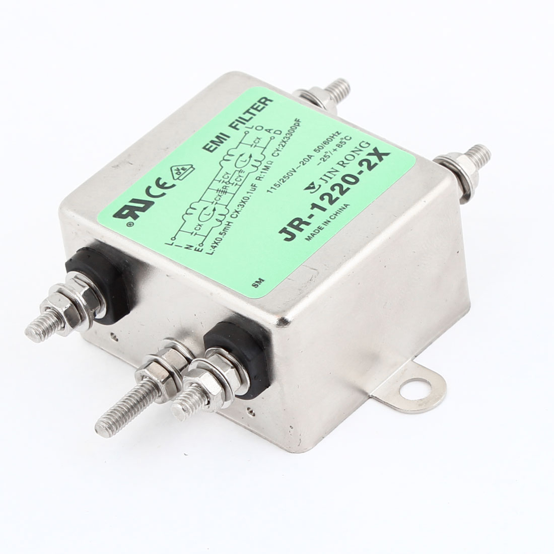 20A Rated Current AC 115/250V JR-1220-R Power Line EMI Filter