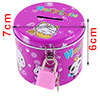 Cylinder Shape Metal Fushcia Piggy Bank Coin Money Saving Box w Padlock