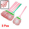 Pink Green Handle Red Lotus Flower Shape Plastic Mosquito Fly Swatter 5 Pcs
