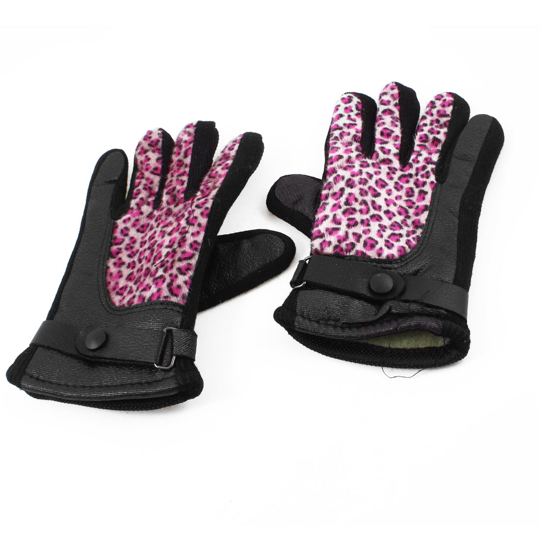 Lady Leopard Pattern Adjustable Wrist Strap Warm Gloves Fuchsia Pair