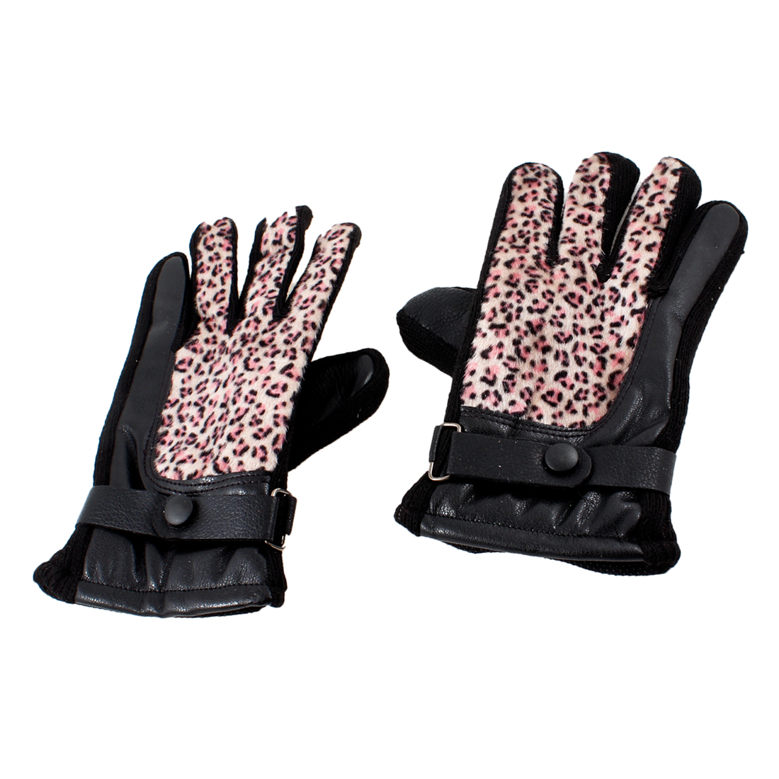Woman Cotton Blends Lining Leopard Printed Winter Warmer Gloves Pink Pair