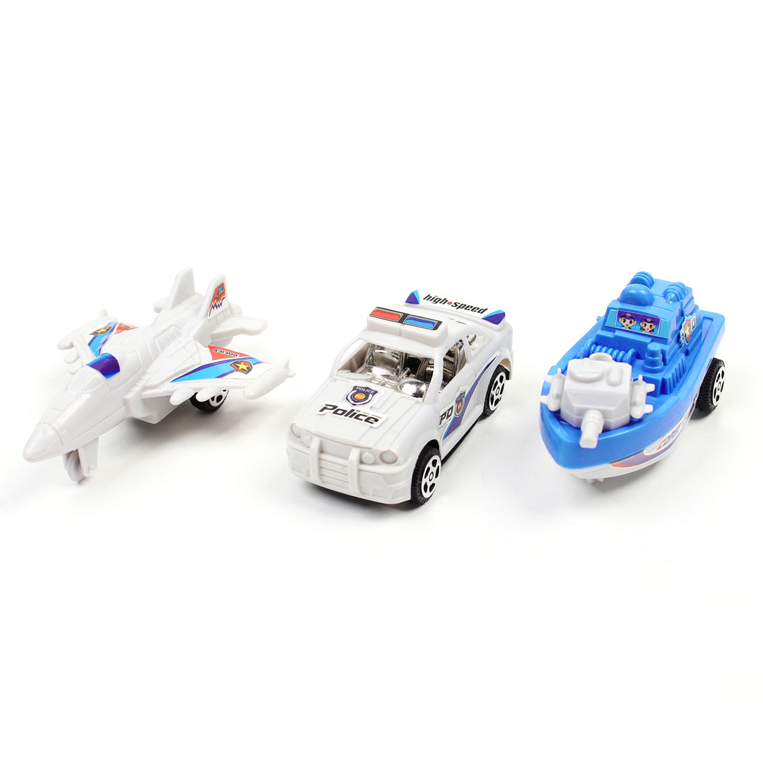Kids Child White Sky Blue Plastic Patrol Police Car Gunboat Airplane Toy 3 in 1