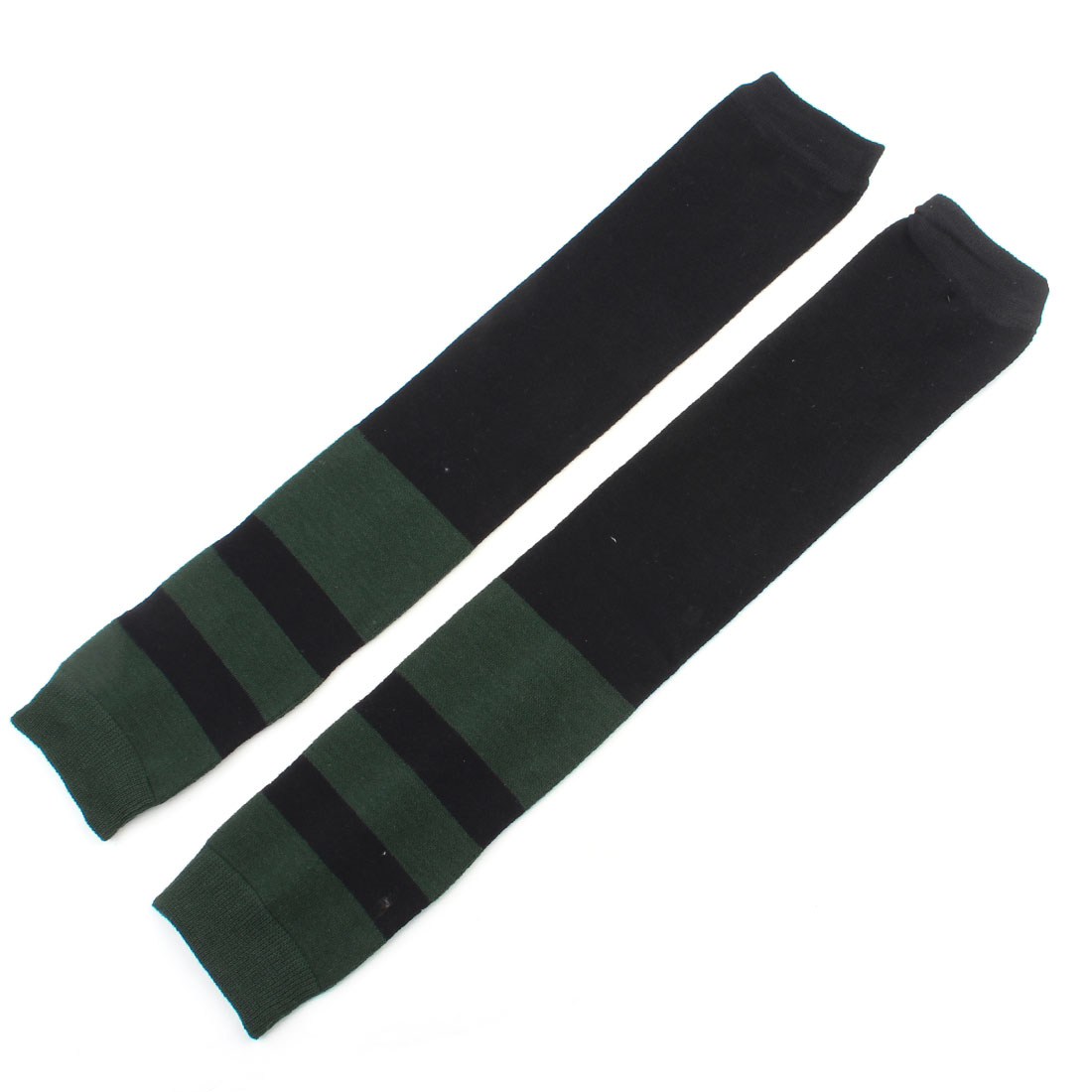 Women Black Dark Green Strip Print Elastic Leg Warmers Stockings Socks Pair
