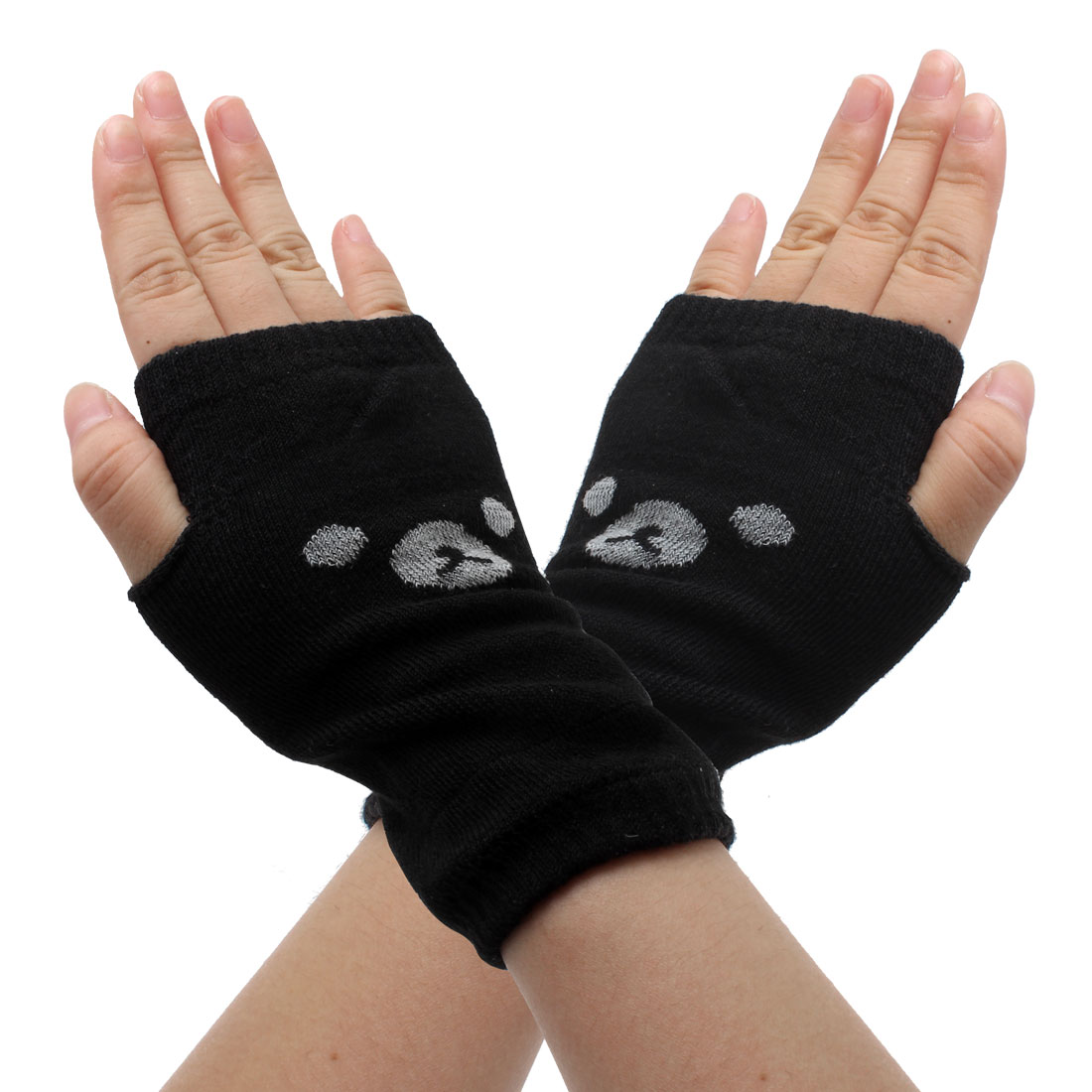 Unisex Cartoon Print Winter Elastic Fingerless Acrylic Gloves Gray Black Pair