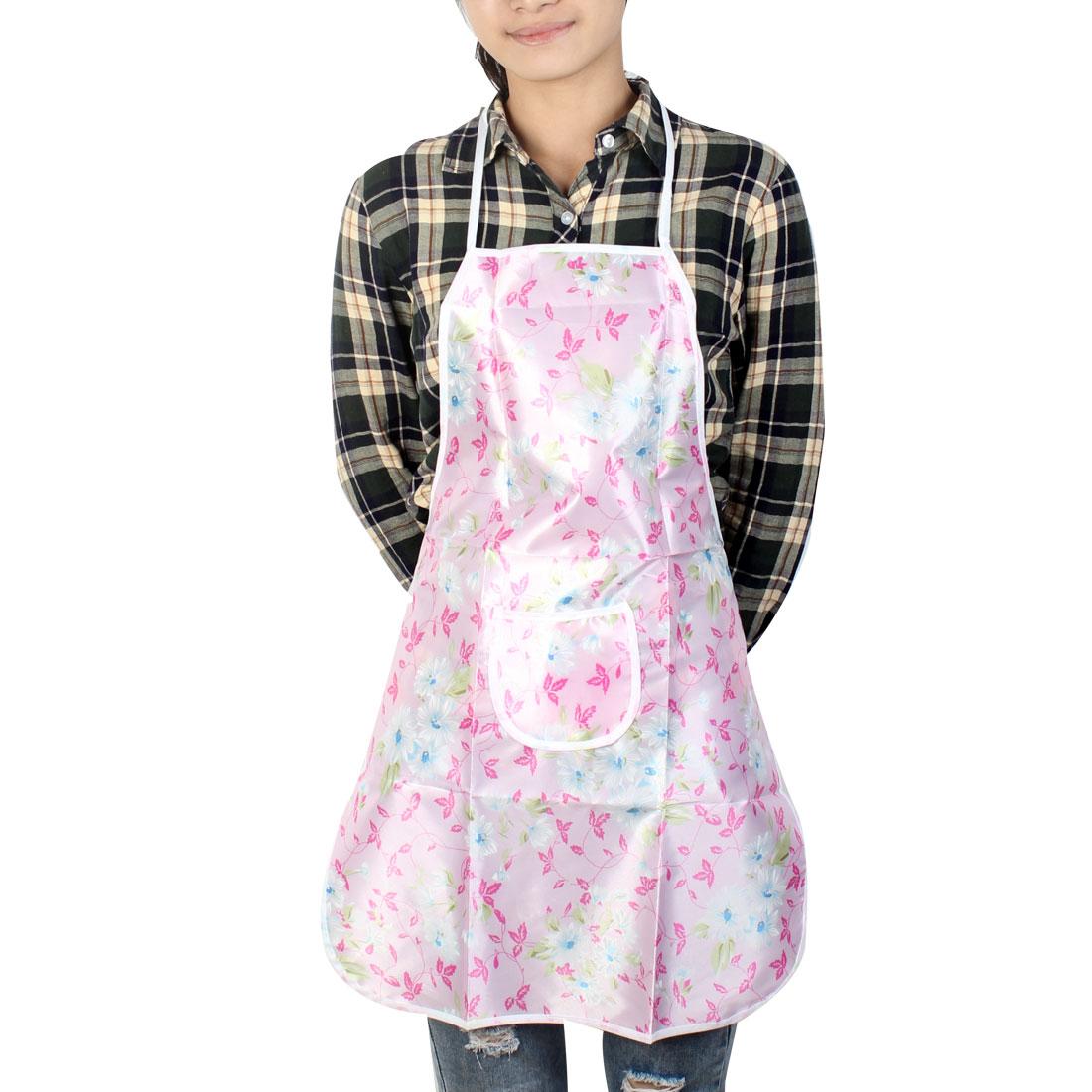 Flower Print Pink Front Patch Pocket Kitchen Bib Apron for Ladies