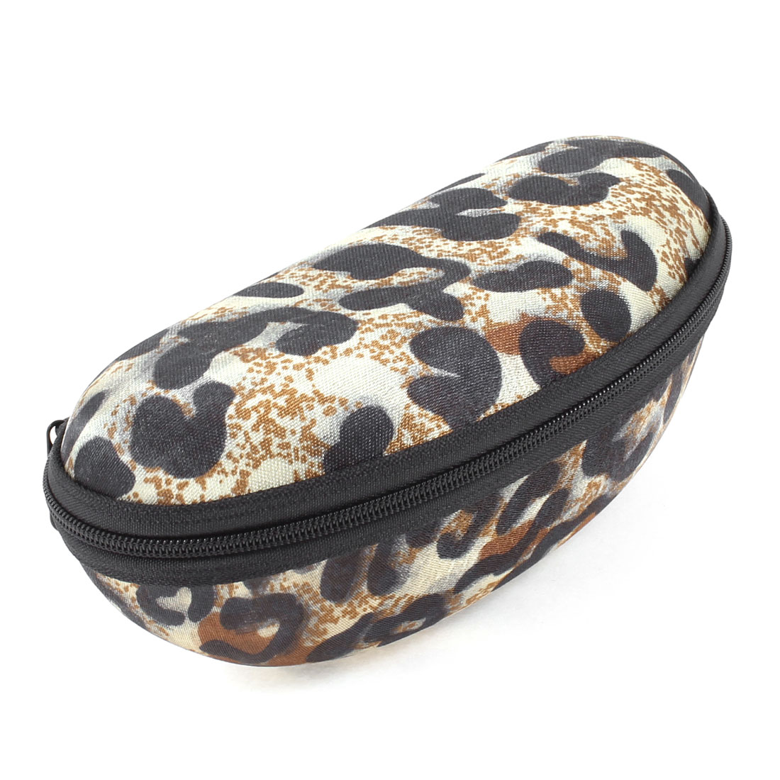 Beige Orange Black Leopard Pattern Oval Regular Specs Glasses Cases Holder