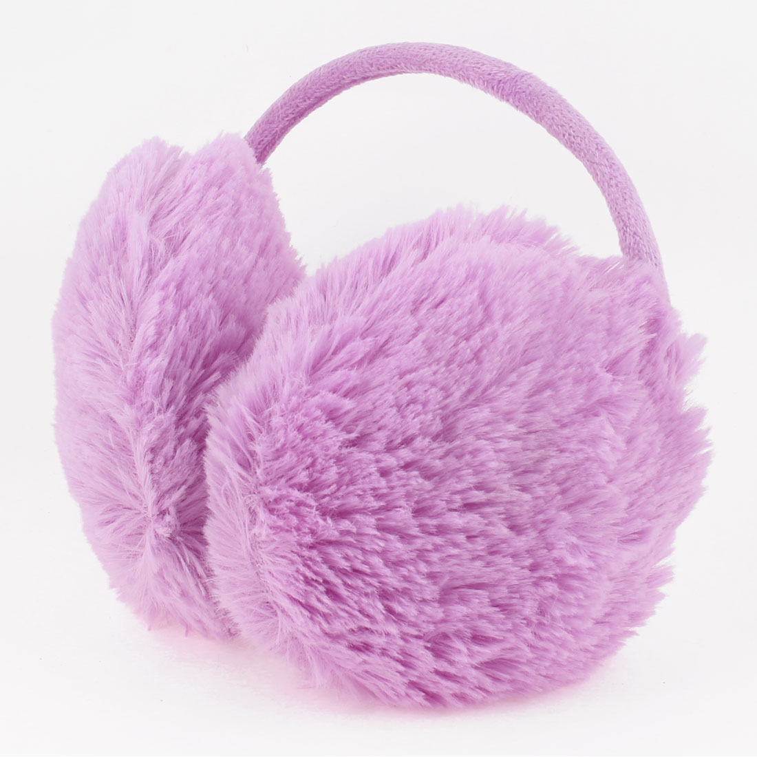 Woman Purple Soft Plush Fluffy Warmer Back Ear Cover Earmuffs