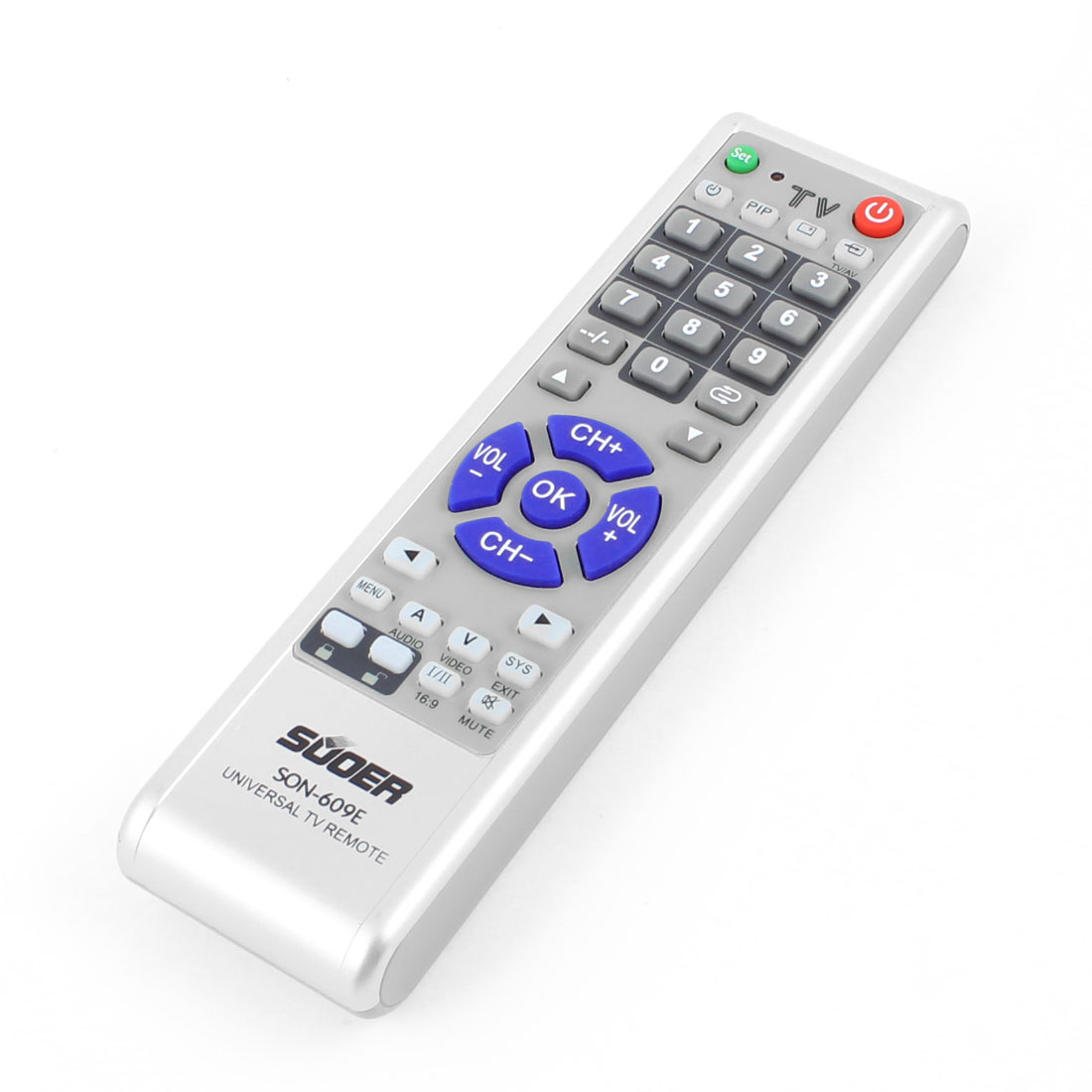 Gray Blue Plastic Shell Replacement Universal TV Remote Control