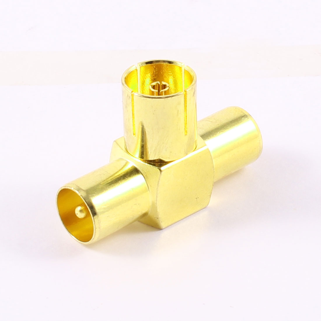 Gold Tone 3 Way RF Female to Mele TV Coaxial Aerial Antenna Adapters