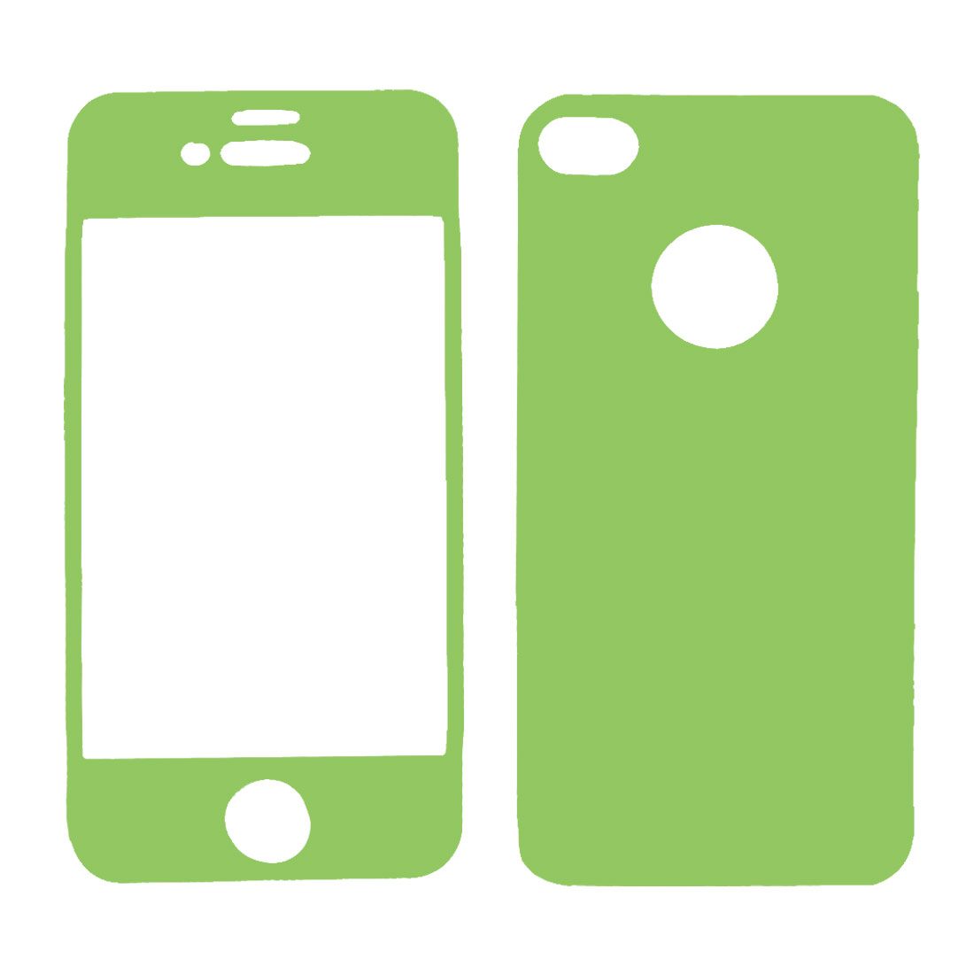 Green Vinyl Front Back Decal Sticker Protector for iPhone 4 4G 4S 4GS