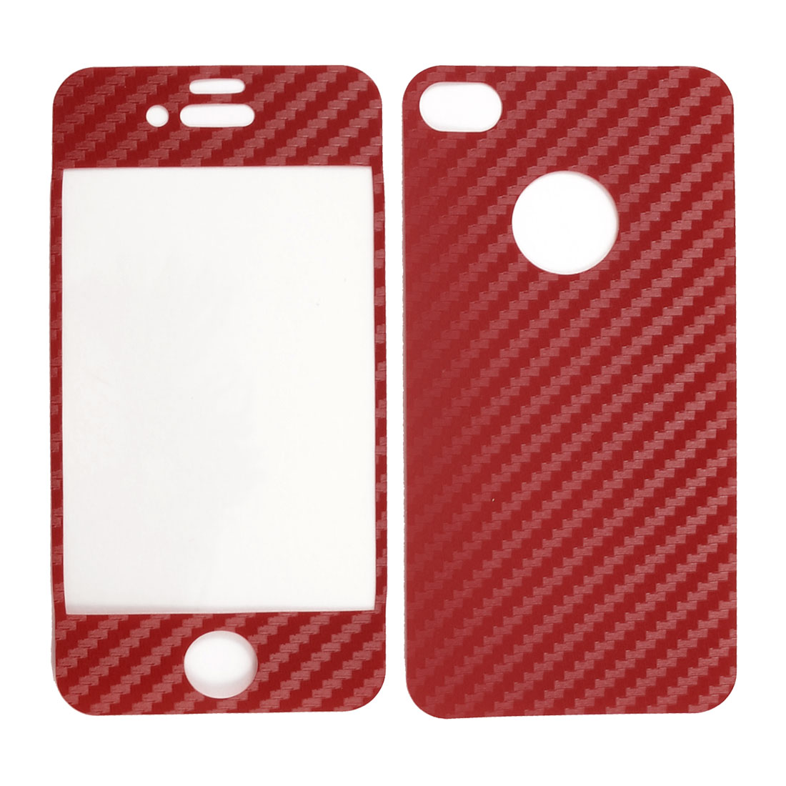 Carbon Fiber Pattern Red Vinyl Front Back Decal Sticker for iPhone 4 4G 4S 4GS