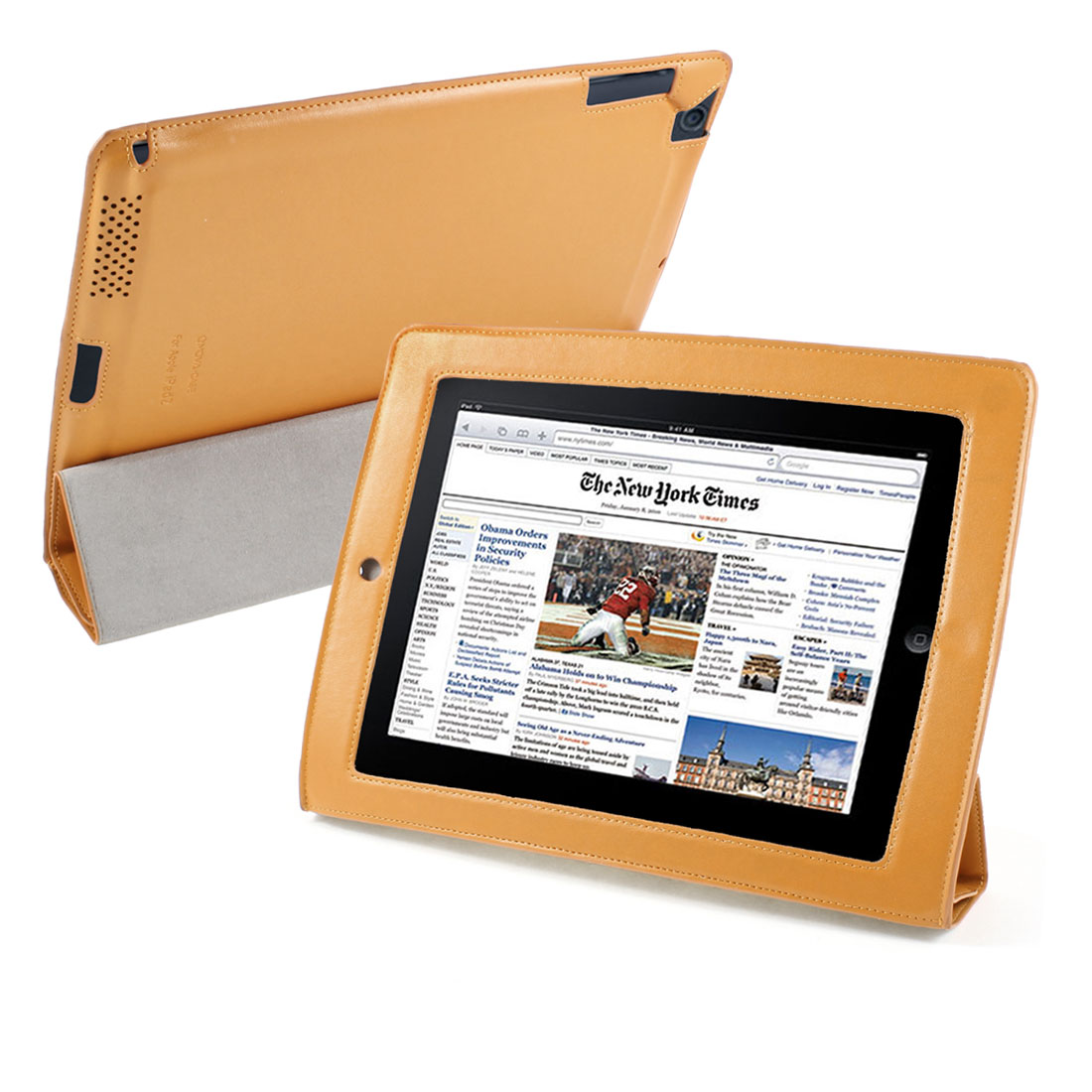 Orange PU Leather Wake Up Sleep Stand Case Smart Cover for Apple iPad 2 3 4