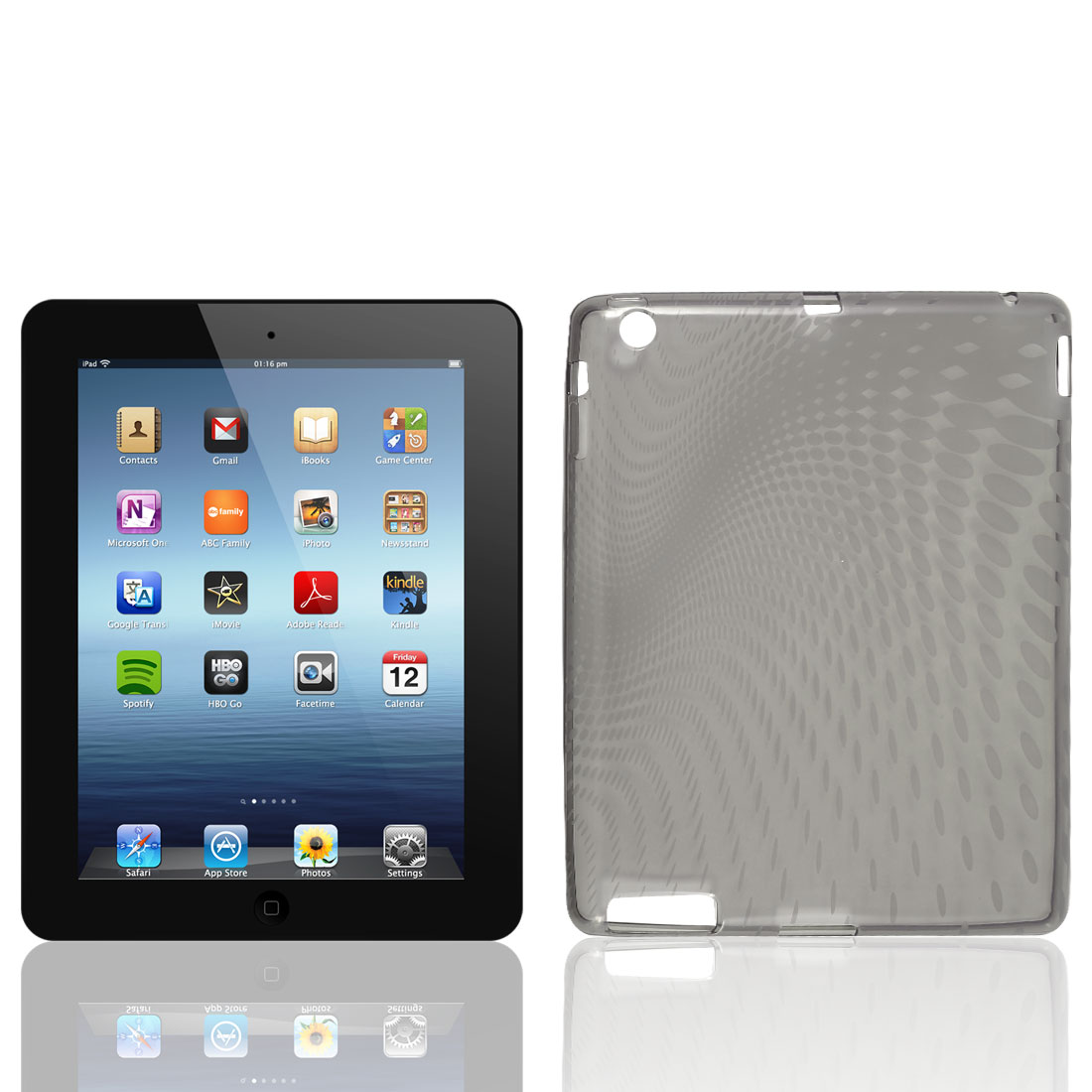 Clear Gray Raindrop Pattern TPU Soft Case Cover for Apple iPad 2