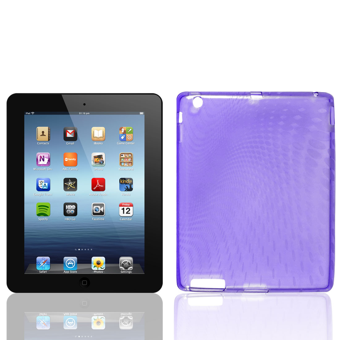 Clear Purple Raindrop Pattern TPU Soft Case Cover for Apple iPad 2