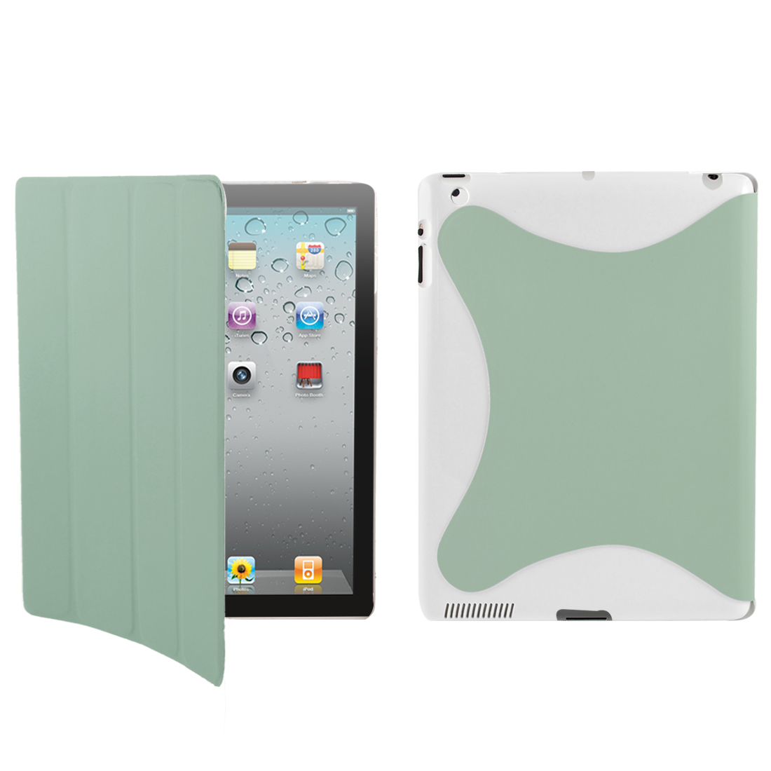 Pale Green PU Leather Stand Case Smart Cover Protector for iPad 2