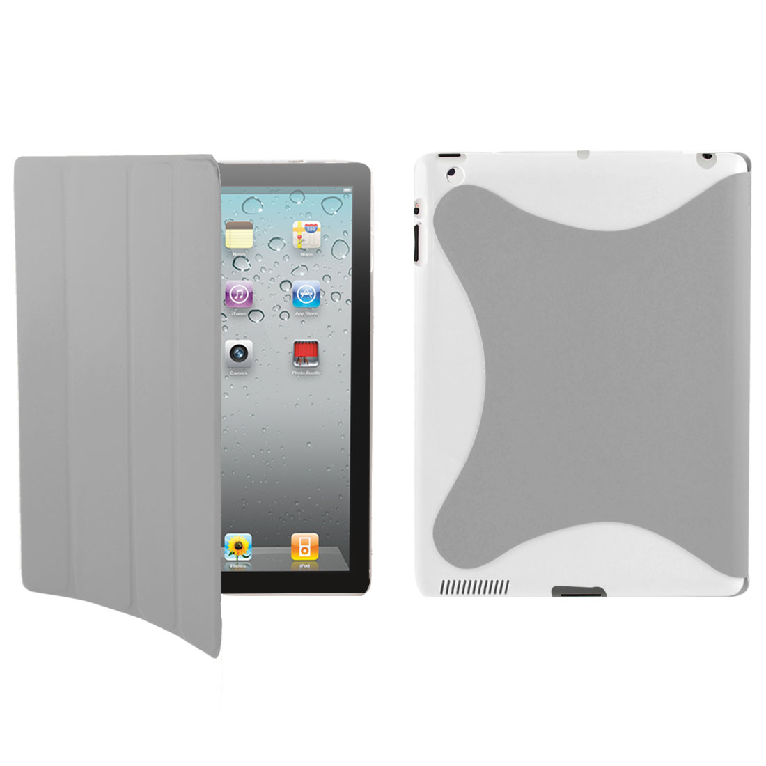 White Gray PU Leather Wake Up Sleep Case Smart Cover for Apple iPad 2