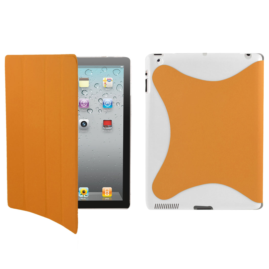 Wake Up Sleep Folio Flip Case Cover Stand White Orange for Apple iPad 2