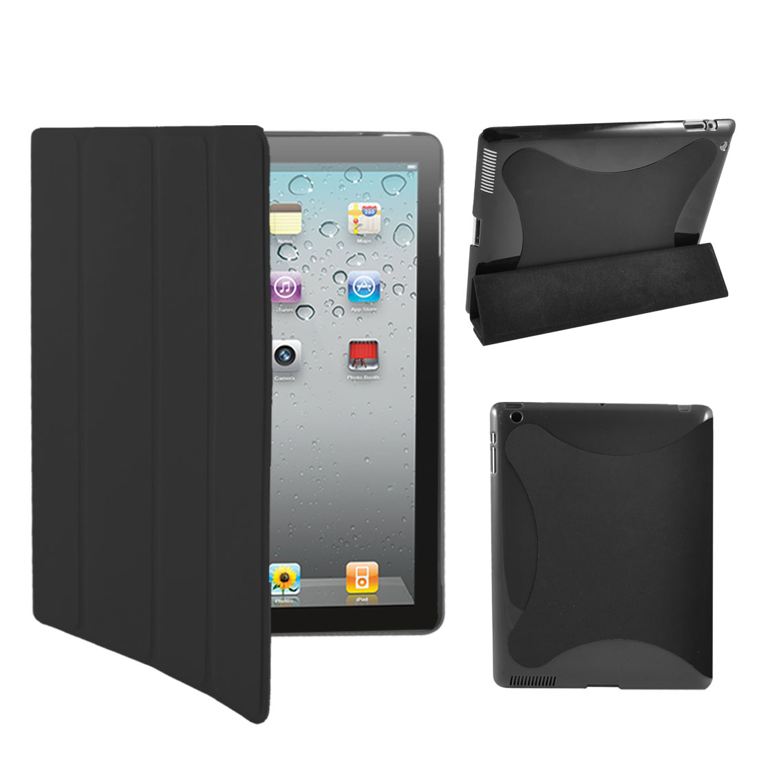 Black PU Leather Magnetic Flip Stand Case Smart Cover for iPad 2