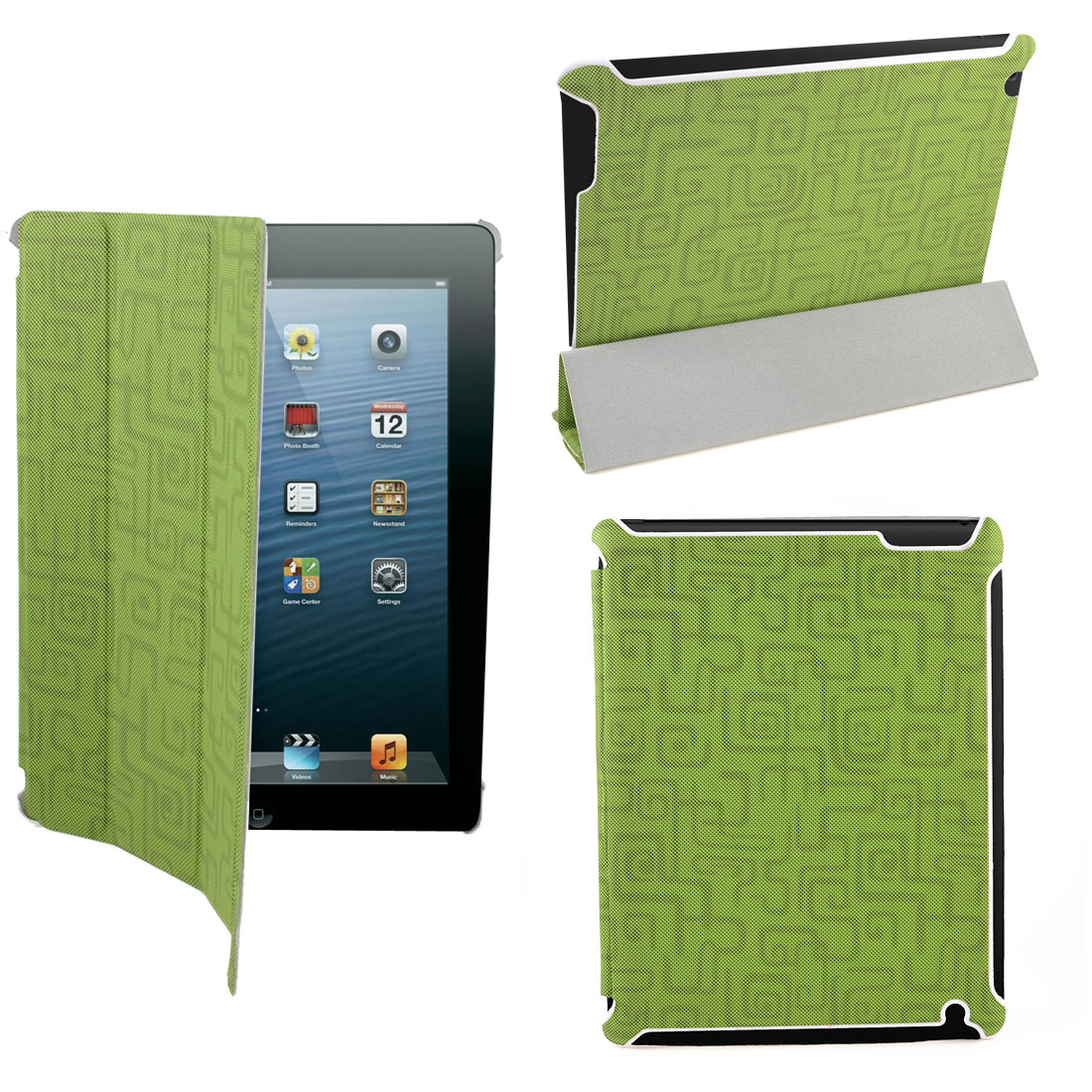 Gray Faux Leather Inner Folio Flip Case Cover Smart Stand Green for iPad 2 2nd