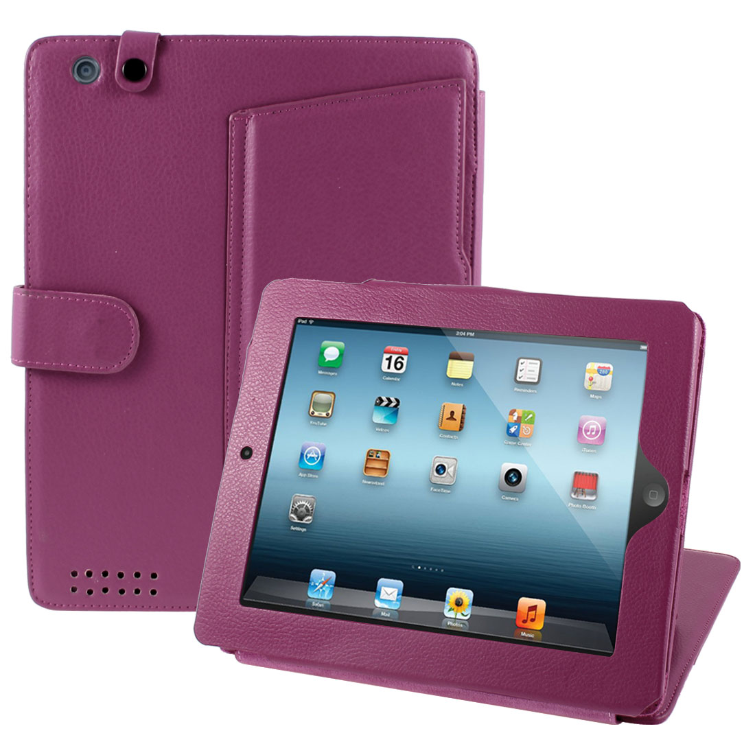 Faux Leather Folio Flip Case Cover Amaranth for Apple iPad 2 2nd