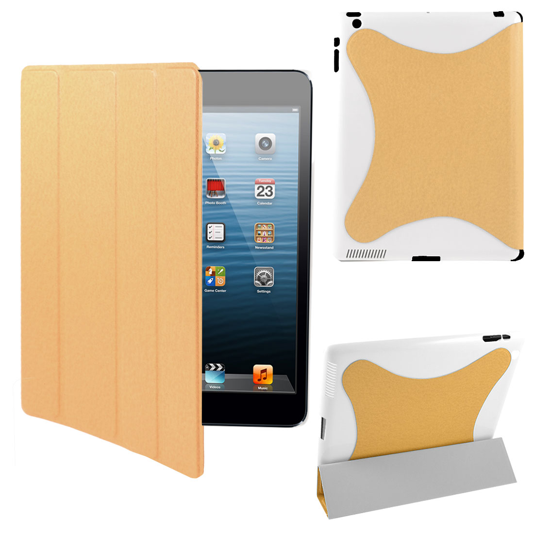 Orange PU Leather Stand Case Smart Cover Protector for iPad 2
