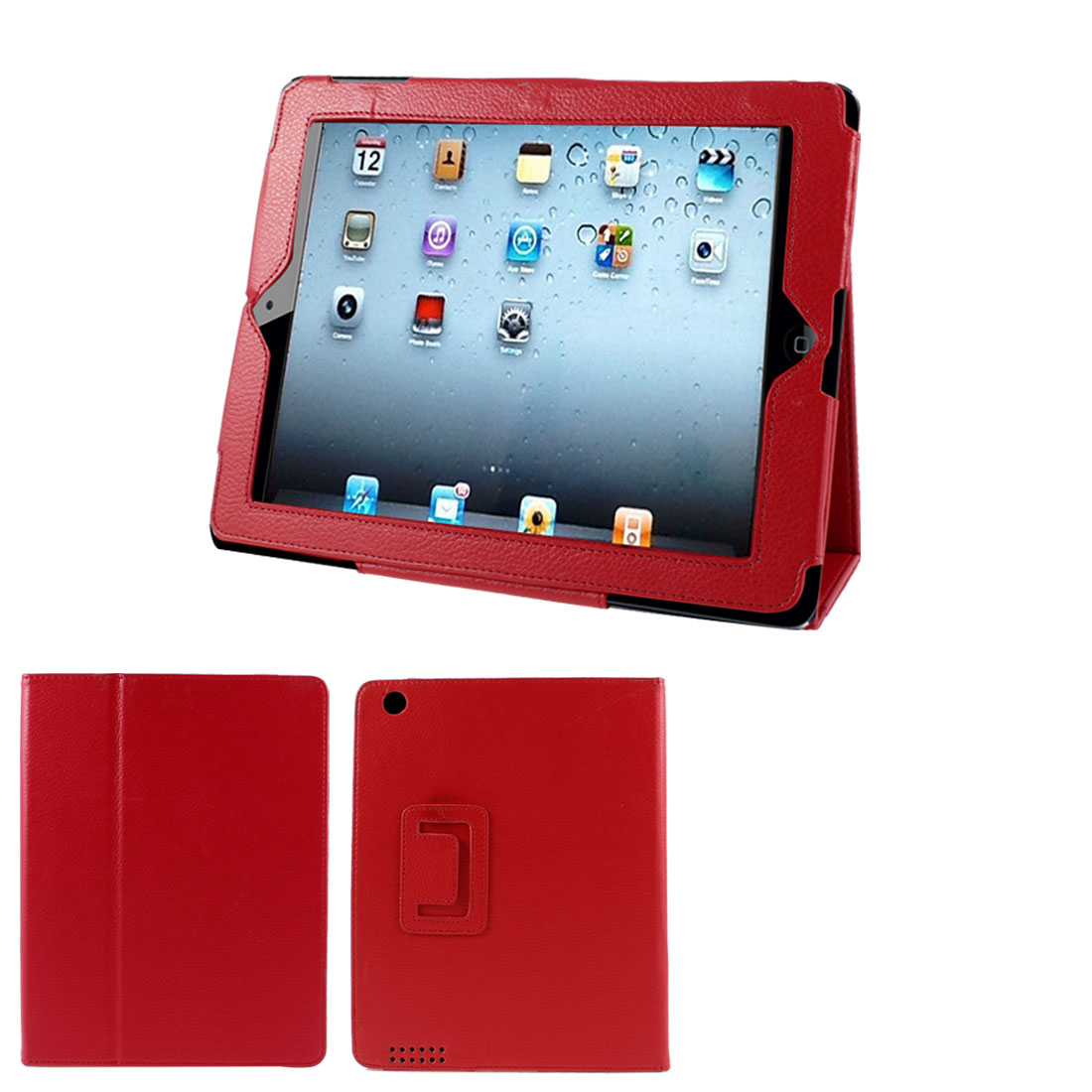 Faux Leather Folio Stand Case Cover Red for Apple iPad 2 2nd 2th