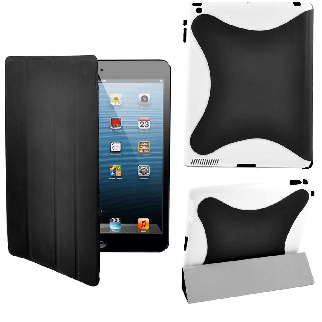 Black PU Leather Protective Stand Case Smart Cover for iPad 2