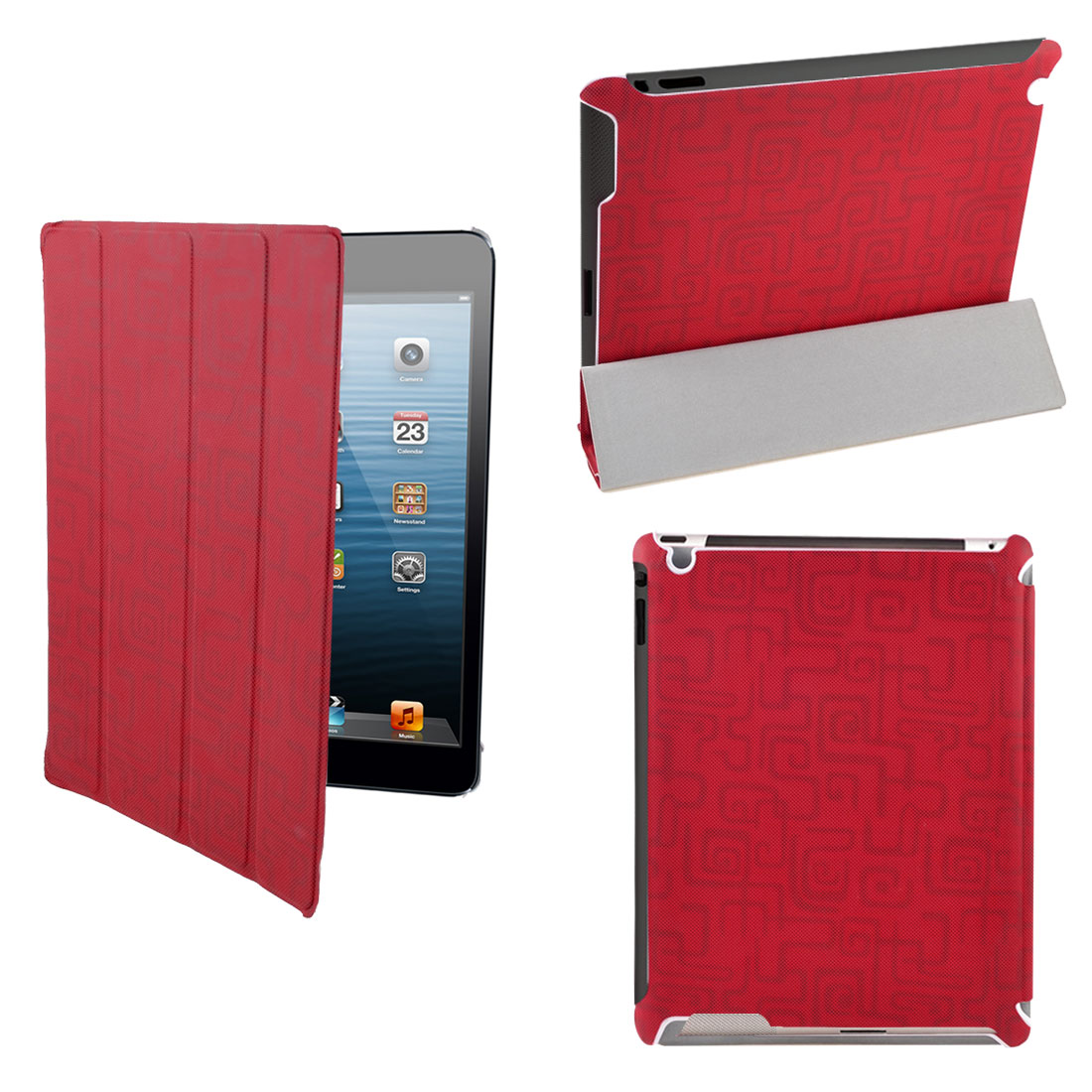 Red Round Dots PU Leather Folio Flip Wake Up Sleep Stand Case Cover for iPad 2