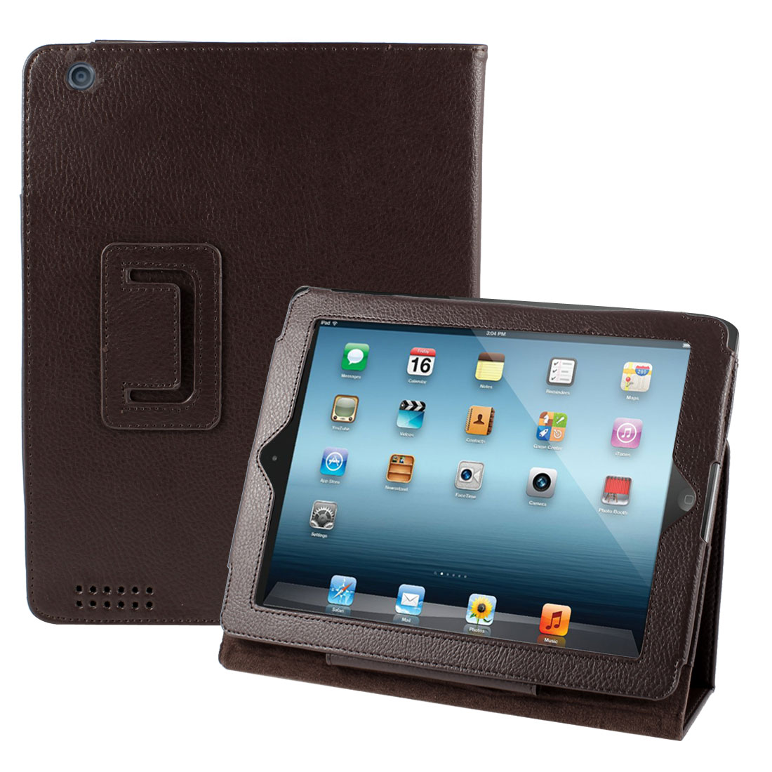Coffee Color Faux Leather Magnetic Stand Case Cover for Apple iPad 2 2th