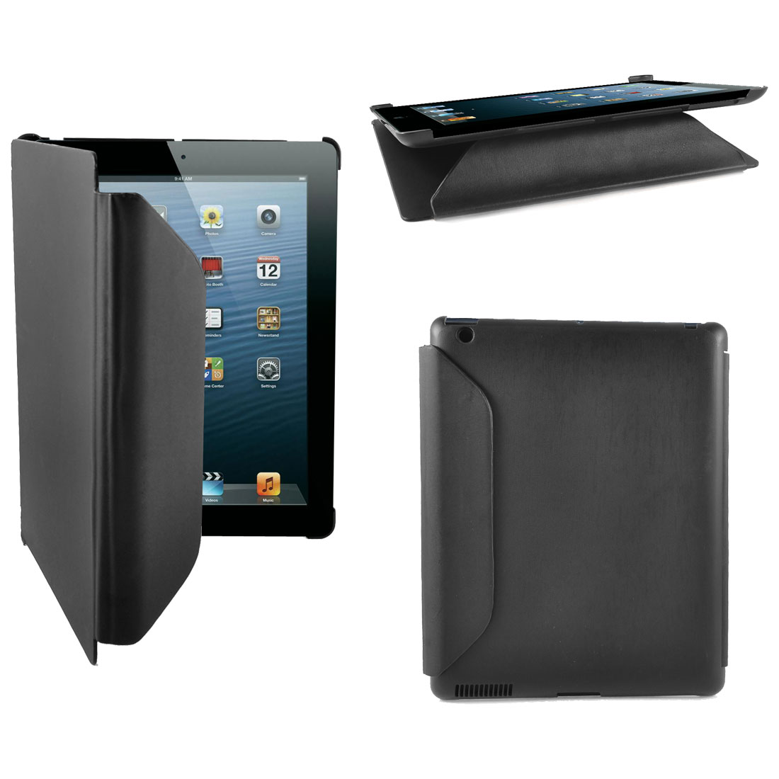 Black UP Leather Plastic Folio Flip Stand Case Cover Black for Apple iPad 2