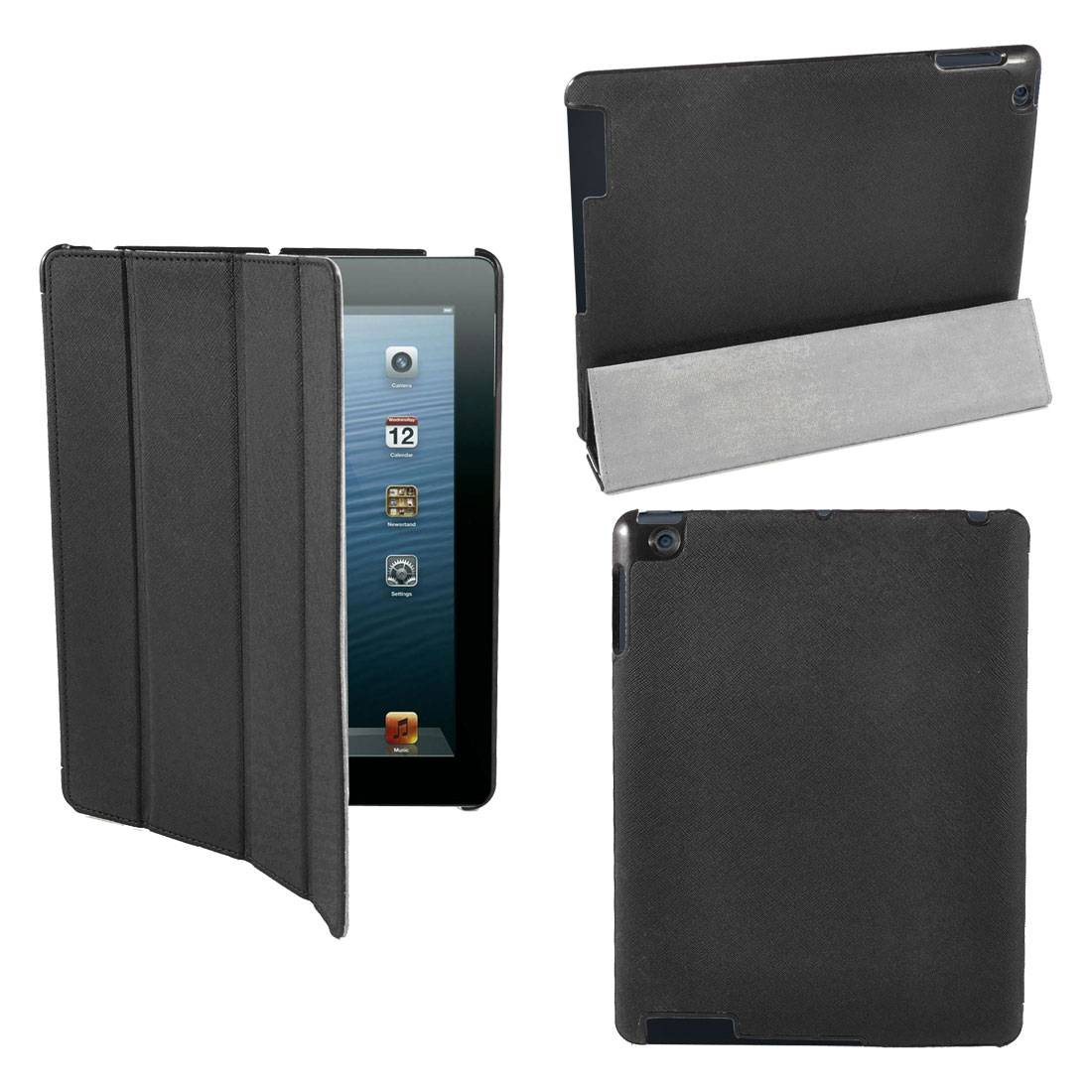 Black Textued PU Leather Folio Flip Wake Up Sleep Stand Case Cover for iPad 2 2nd