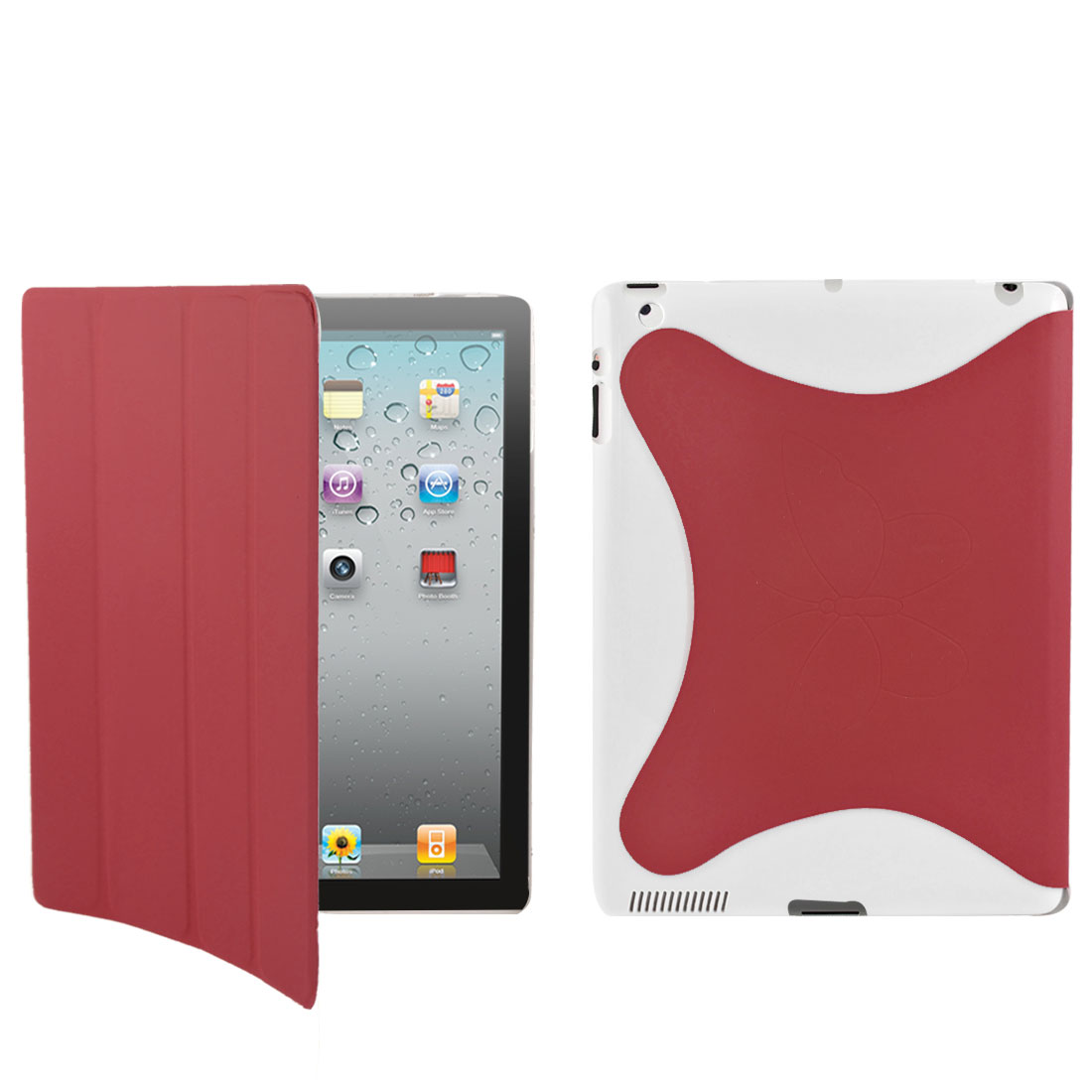 Red PU Leather Butterfly Protective Stand Case Smart Cover for iPad 2