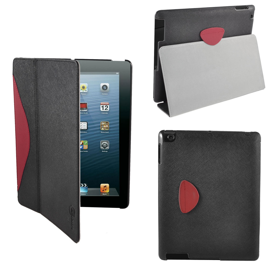 Black Red Faux Leather Folio Wake Up Sleep Smart Stand Case Cover for iPad 2 3 4