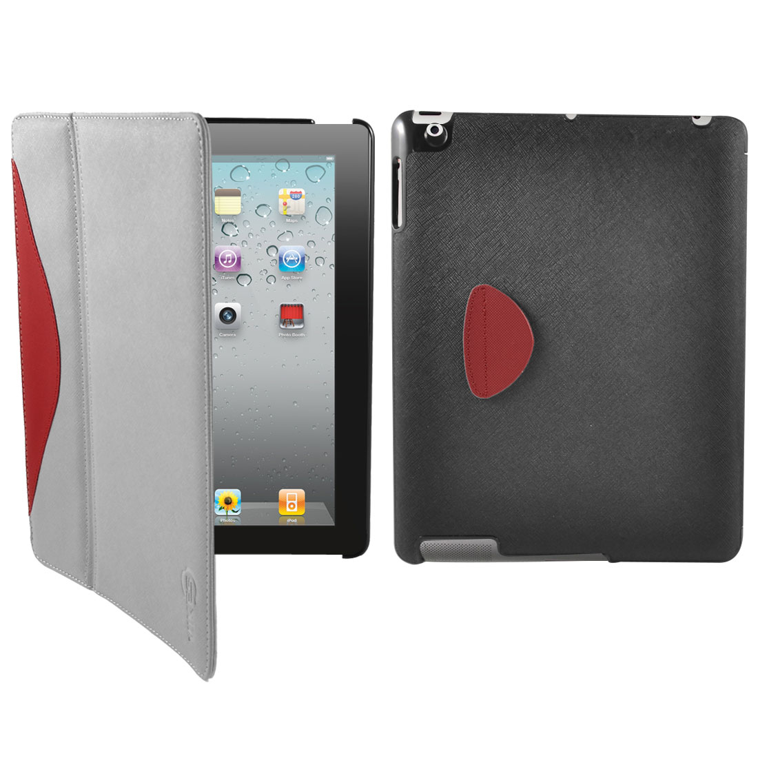 Gray Red Flannel Inner Smart Stand Case Cover Protector for Apple iPad 2 3 4