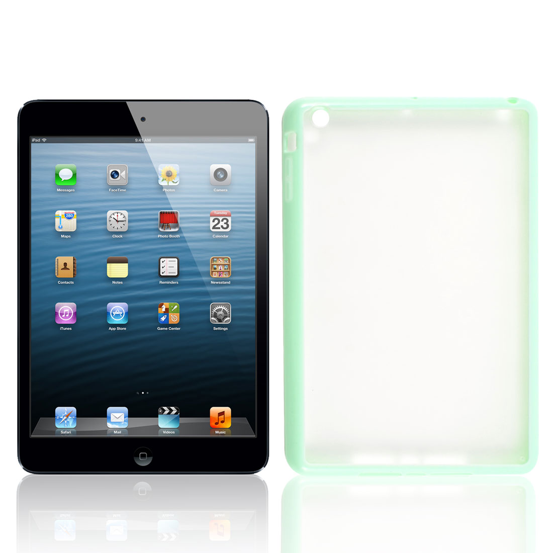 Light Green Soft Brim TPU Clear Plastic Matte Case Cover for Apple iPad Mini