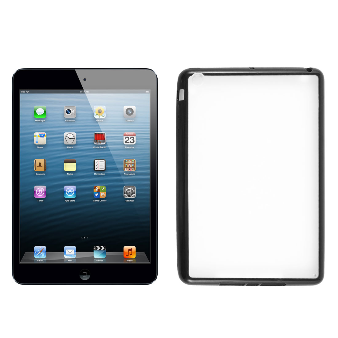 Black Soft Brim TPU Clear Plastic Matte Case Cover for Apple iPad Mini