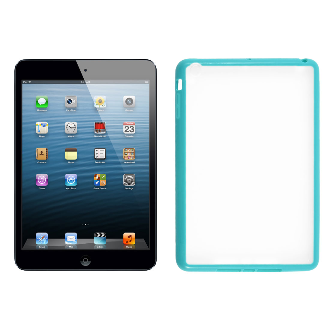 Teal Soft Brim TPU Clear Plastic Matte Case Cover for Apple iPad Mini