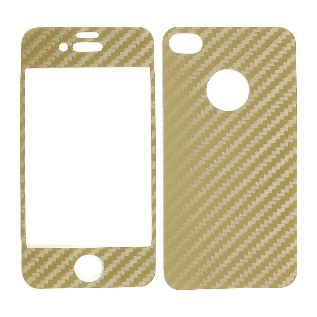 Carbon Fiber Pattern Gold Tone Vinyl Front Back Decal Sticker for iPhone 4 4G 4S