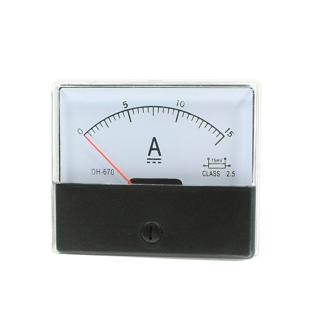 Clear Plastic Shell DC 0-15A Panel Ammeter Current Pointer