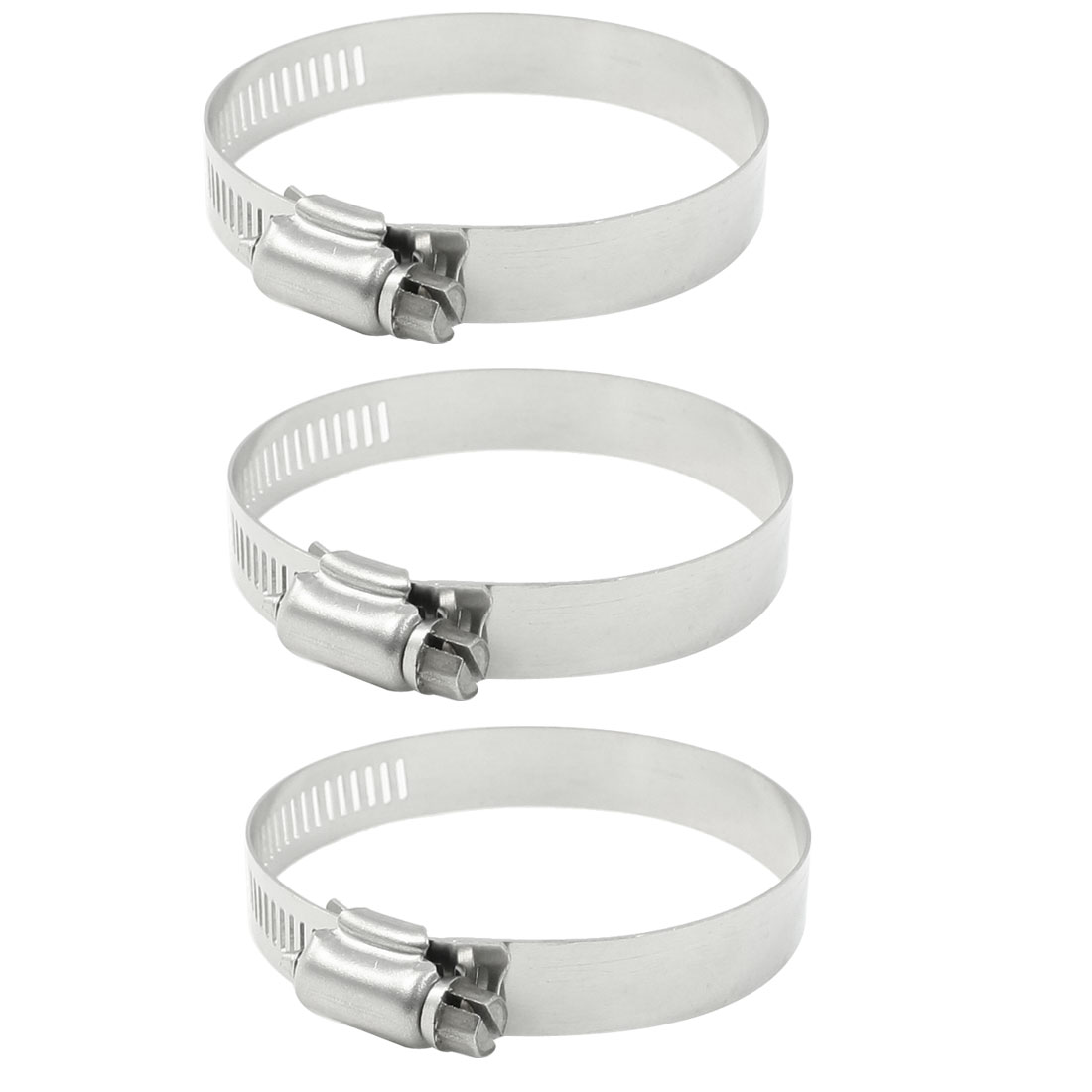 3 Pcs 12mm Width Stainless Steel Bend Worm Drive Hose Clamp Hoop 46-70mm
