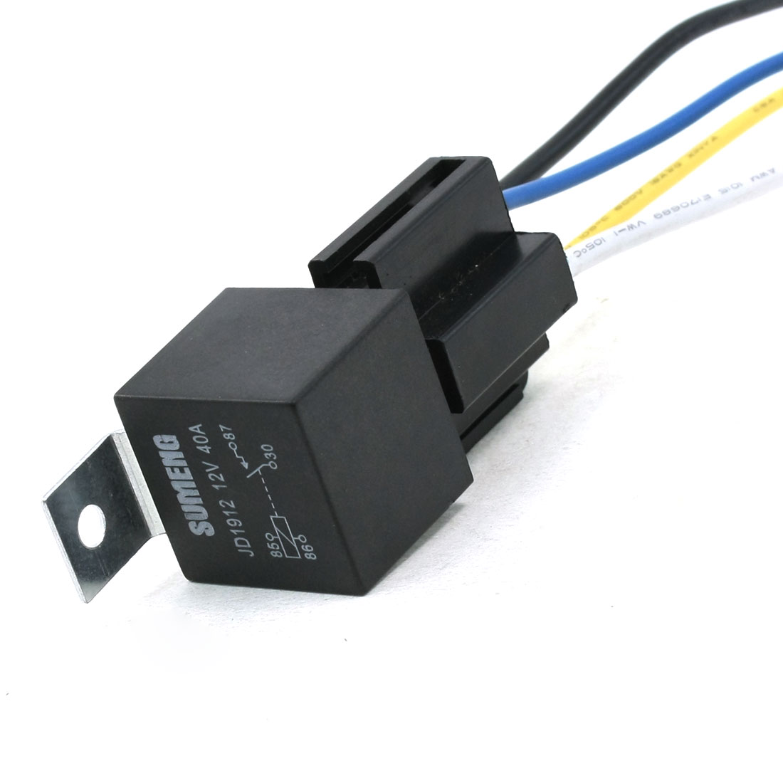 5.2mm Dia Mount SPST 4 Pin 4 Wire Cable Car Relay Metal Socket 40A 12V DC