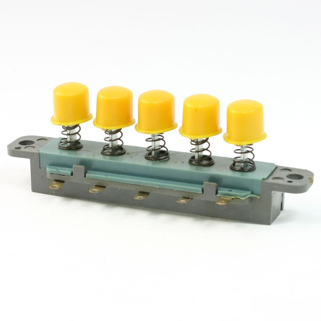 AC 250V 1A 5 Keys Latching Momentary Interlock Yellow Pushbutton Switch