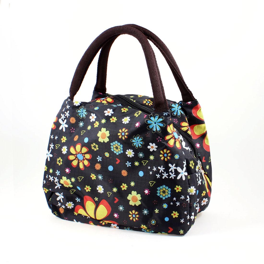 Colorful Floral Pattern Zip Shopping Handbag Bag Black for Ladies