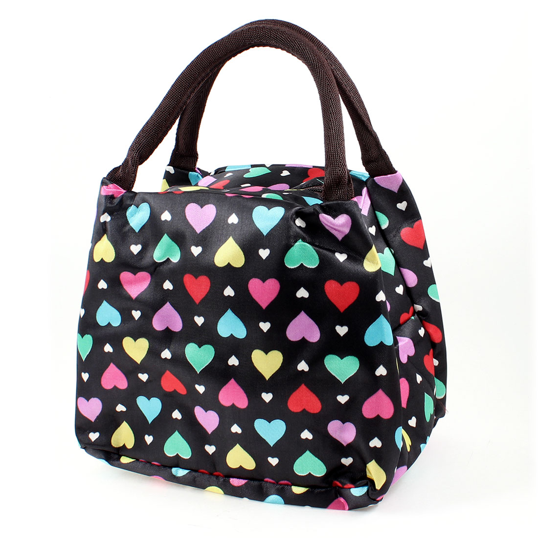 Colorful Heart Shape Pattern Chocolate Color Strap Black Handbag Wrist Bag