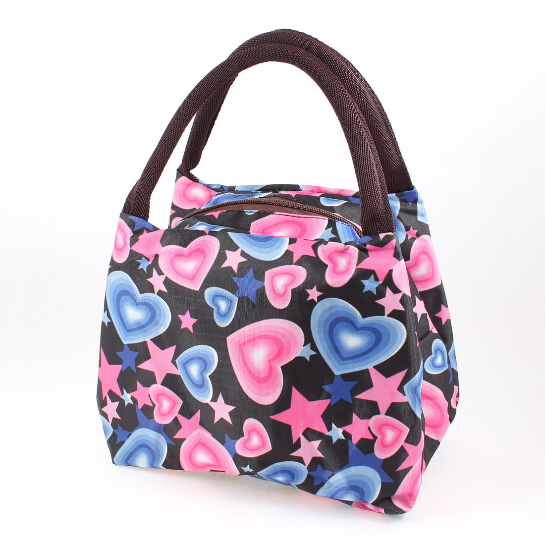 Women Heart Star Shape Prints Chocolate Color Strap Black Handbag Bag