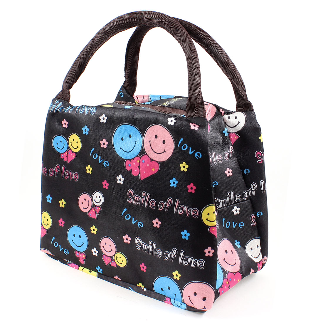 Zipper Closure Design Letters Smile Face Shape Pattern Shopping Handbag Black