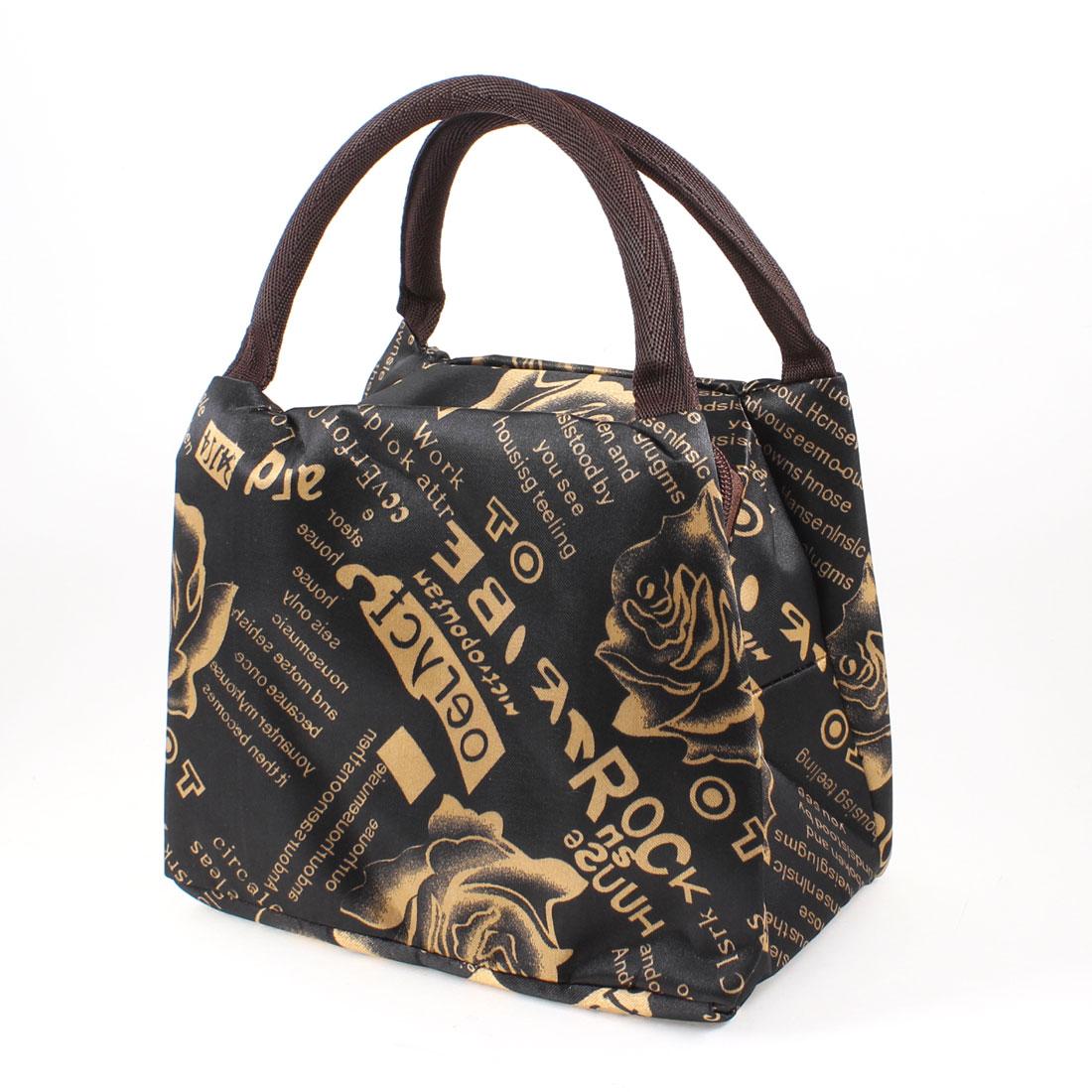 Letter Floral Pattern Zipper Closure Design Handbag Bag Black For Lady
