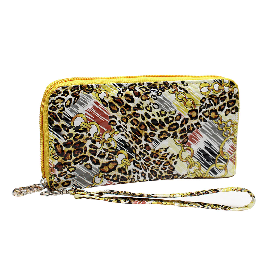 Yellow Leopard Pattern 4 Compartments Zipper Closure Handbag Purse for Lady
